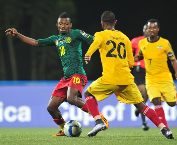 Emane Yazid Atouba of Cameroon challenged by Abel Mamo of Ethiopia during the 2016 CHAN Rwanda, match between Cameroon and Ethiopia at the Huye Stadium in Butare, Rwanda on 21 January 2016 ©Muzi Ntombela/BackpagePix