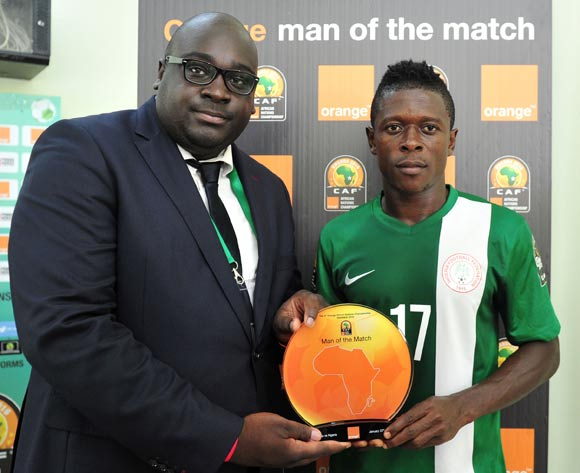 Man of the match Osas Okoro of Nigeria during the 2016 CHAN Rwanda, match between Tunisia and Nigeria at the Stade de Kigali in Kigali, Rwanda on 22 January 2016 ©Muzi Ntombela/BackpagePix