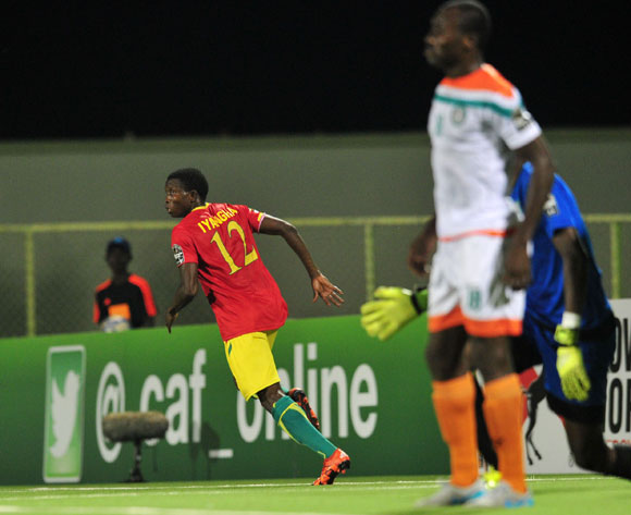 Aboubacar Sylla of Guinea celebrates goal during the 2016 CHAN Rwanda, match between Niger and Guinea at the Stade de Kigali in Kigali, Rwanda on 22 January 2016 ©Muzi Ntombela/BackpagePix