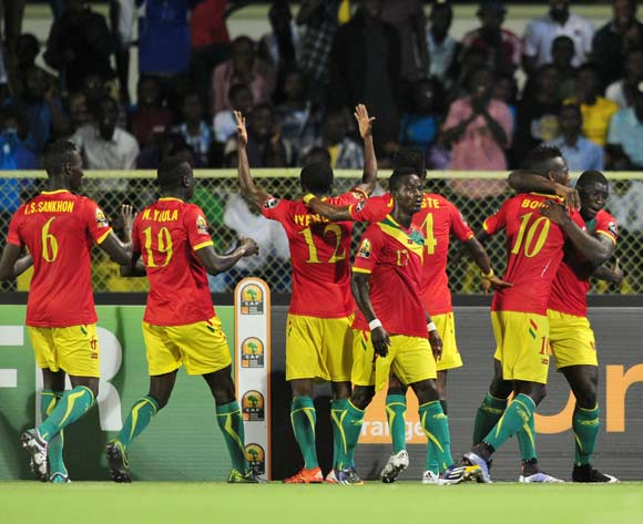 Guinea players celebrating after scoring