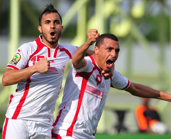 Ahmed Akaichi of Tunisia celebrates goal with teammate Mohamed Ali Monser during the 2016 CHAN Rwanda game between Tunisia and Nigeria at Stade de  Kigali, Kigali on 22 January 2016 ©Ryan Wilkisky/BackpagePix