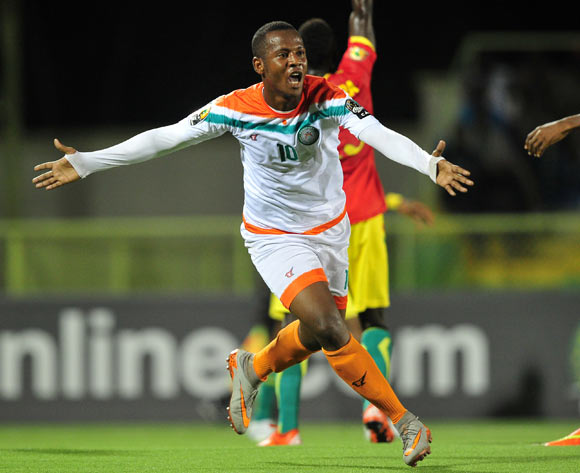 Mossi Adamou Moussa Issa of Niger turns to celebrate after opening the scoring for his team during the 2016 CHAN Rwanda game between Niger and Guinea at the Stade de Kigali, Kigali on 22 January 2016 ©Ryan Wilkisky/BackpagePix