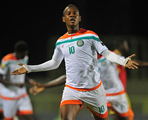 Mossi Adamou Moussa Issa of Niger celebrates his goal during the 2016 CHAN Rwanda game between Niger and Guinea at the Stade de Kigali, Kigali on 22 January 2016 ©Ryan Wilkisky/BackpagePix