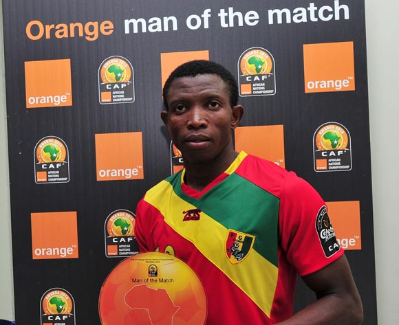 Aboubacar Sylla of Guinea receives the 'Orange Man of the Match' award after the 2016 CHAN Rwanda game between Niger and Guinea at the Stade de Kigali, Kigali on 22 January 2016 ©Ryan Wilkisky/BackpagePix