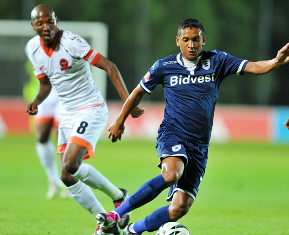 Daine Klate of Bidvest Wits challenged by Jabulani Maluleke of Polokwane City during the Absa Premiership match between Bidvest Wits and Polokwane City at the Bidvest Stadium in Johannesburg, South Africa on January 22, 2016 ©Samuel Shivambu/BackpagePix