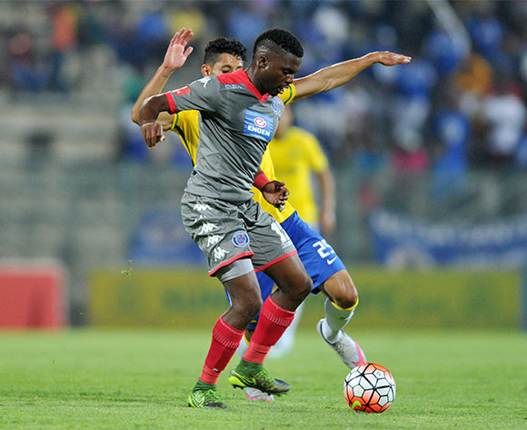 Enocent Mkhabela of Supersport United challenged by Leonardo Castro of Mamelodi Sundowns during the Absa Premiership match between Mamelodi Sundowns and Supersport United at the Lucas Moripe Stadium in Pretoria, South Africa on January 23, 2016 ©Samuel Shivambu/BackpagePix