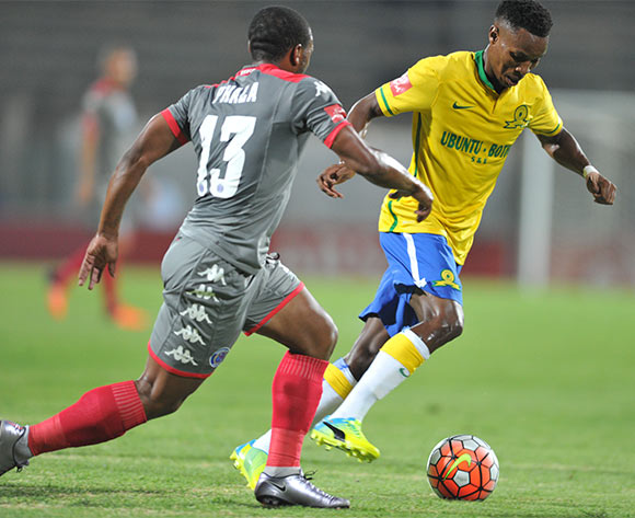 Themba Zwane of Mamelodi Sundowns challenged by Thuso Phala of Supersport United during the Absa Premiership match between Mamelodi Sundowns and Supersport United at the Lucas Moripe Stadium in Pretoria, South Africa on January 23, 2016 ©Samuel Shivambu/BackpagePix