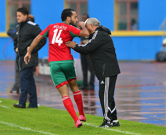 Abdelghani Mouaoui of Morocco  celebrate goal with coach Mohammed Fakhir during the 2016 CHAN football match between Morocco and Rwanda at the Amahoro Stadium in Kigali, Rwanda on 24 January 2016 ©Gavin Barker/BackpagePix