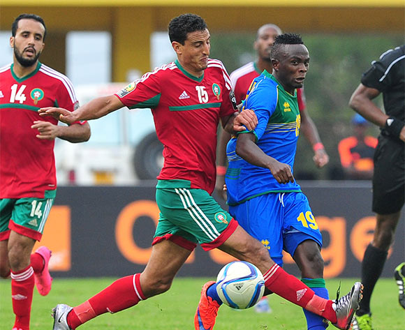 Yussufu Habimana of Rwanda is challenged by Mohamed Aziz of Morocco during the 2016 CHAN Rwanda game between Morocco and Rwanda at the Amahoro Stadium, Kigali on 24 January 2016 ©Ryan Wilkisky/BackpagePix