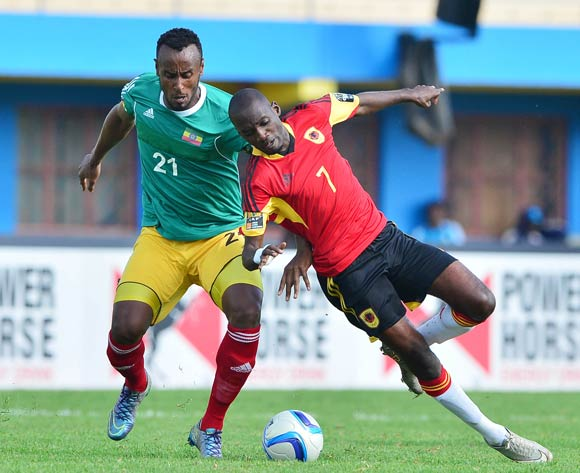 Tesfaye Alebachew of Ethiopia fouls Pedro Luvumbo Bua of Angola during the 2016 CHAN football match between Ethiopia and Angola  at the Amahoro Stadium in Kigali, Rwanda on 25 January 2016 ©Gavin Barker/BackpagePix
