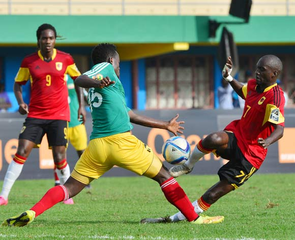 Asechalew Tamene of Ethiopia tackles Pedro Luvumbo Bua of Angola during the 2016 CHAN football match between Ethiopia and Angola  at the Amahoro Stadium in Kigali, Rwanda on 25 January 2016 ©Gavin Barker/BackpagePix