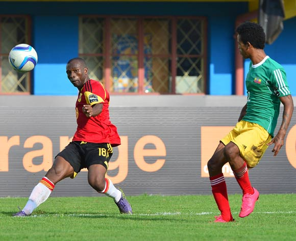 Mingo Bille Zalata of Angola cross ball challenged by Tekalign Dejene of Ethiopia during the 2016 CHAN football match between Ethiopia and Angola  at the Amahoro Stadium in Kigali, Rwanda on 25 January 2016 ©Gavin Barker/BackpagePix