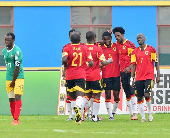 Ary Papel of Angola (second from right) celebrates goal with teammates  during the 2016 CHAN football match between Ethiopia and Angola  at the Amahoro Stadium in Kigali, Rwanda on 25 January 2016 ©Gavin Barker/BackpagePix