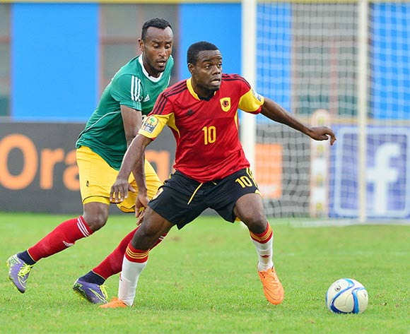 Quibeto Manguxi of Angola shields ball from  Tesfaye Alebachew of Ethiopia during the 2016 CHAN football match between Ethiopia and Angola  at the Amahoro Stadium in Kigali, Rwanda on 25 January 2016 ©Gavin Barker/BackpagePix