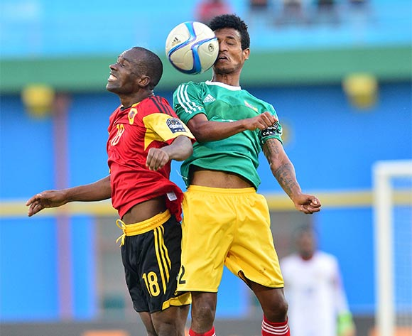 Tekalign Dejene of Ethiopia wins header against  Mingo Bille Zalata of Angola during the 2016 CHAN football match between Ethiopia and Angola  at the Amahoro Stadium in Kigali, Rwanda on 25 January 2016 ©Gavin Barker/BackpagePix