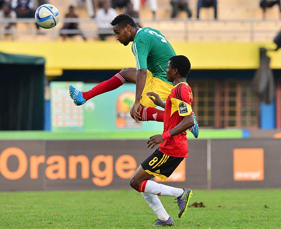 Yared Belay of Ethiopiaclears ball from Jacinto Gelson of Angola during the 2016 CHAN football match between Ethiopia and Angola  at the Amahoro Stadium in Kigali, Rwanda on 25 January 2016 ©Gavin Barker/BackpagePix