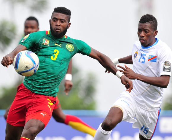 Paul Serge Atangana of Cameroon challenged by Jean Marc Makusu of DR Congo during the 2016 CHAN Rwanda, match between Cameroon and DR Congo at the Huye Stadium in Butare, Rwanda on 25 January 2016 ©Muzi Ntombela/BackpagePix