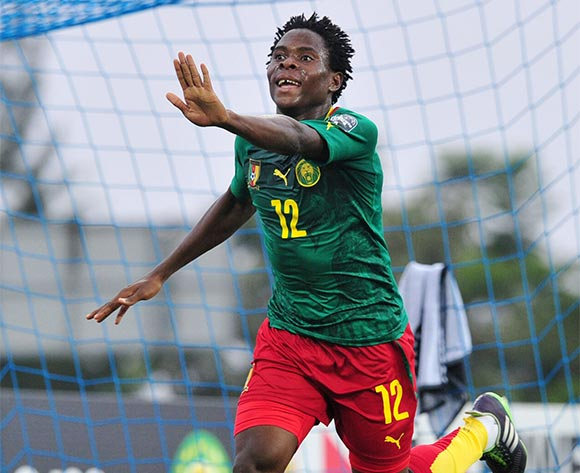 Samuel Nlend of Cameroon celebrates his goal during the 2016 CHAN Rwanda, match between Cameroon and DR Congo at the Huye Stadium in Butare, Rwanda on 25 January 2016 ©Muzi Ntombela/BackpagePix