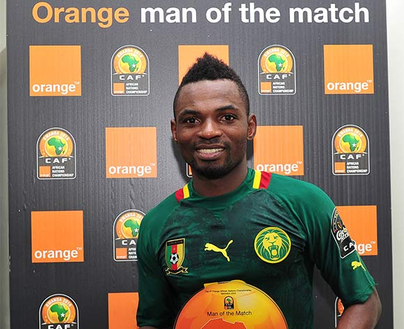 Emane Yazid Atouba of Cameroon receives the 'Orange Man of the Match' award after the 2016 CHAN Rwanda game between Cameroon and DR Congo at Huye Stadium, Butare on 25 January 2016 ©Ryan Wilkisky/BackpagePix