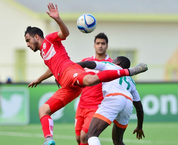 Mohamed Ali Monser of Tunisia fouled by Imrana Seyni of Niger during the 2016 CHAN football match between Niger and Tunisia at the Stade de Kigali in Kigali, Rwanda on 26 January 2016 ©Gavin Barker/BackpagePix