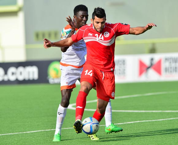 Mohamed Ben Amor of Tunisia gets away from Issa Moussa Mossi Chinois of Niger during the 2016 CHAN football match between Niger and Tunisia at the Stade de Kigali in Kigali, Rwanda on 26 January 2016 ©Gavin Barker/BackpagePix