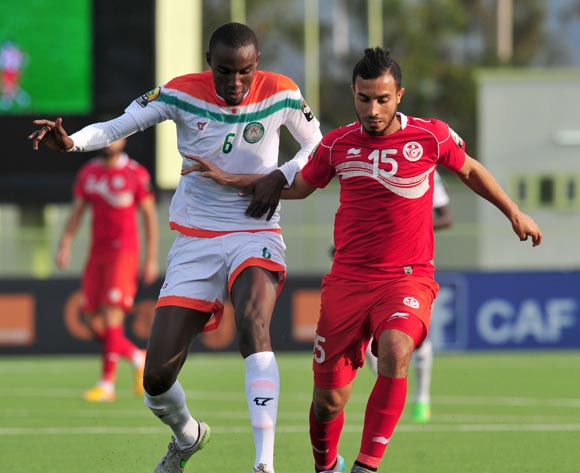 Mohamed Ali Monser of Tunisia challenged by Youssouf Alio Oumarou Balley of Niger during the 2016 CHAN Rwanda, match between Niger and Tunisia at the Stade de Kigali in Kigali, Rwanda on 26 January 2016 ©Muzi Ntombela/BackpagePix
