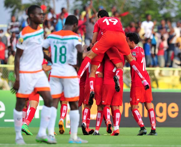 Mohamed Ben Amor of Tunisia celebrates his goal with teammates during the 2016 CHAN Rwanda, match between Niger and Tunisia at the Stade de Kigali in Kigali, Rwanda on 26 January 2016 ©Muzi Ntombela/BackpagePix