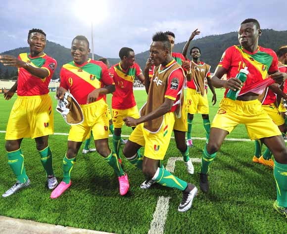 Guinea players celebrate their win over Nigeria after the 2016 CHAN Rwanda game between Guinea and Nigeria at Rubavu Stadium, Rubavu on 26 January 2016 ©Ryan Wilkisky/BackpagePix