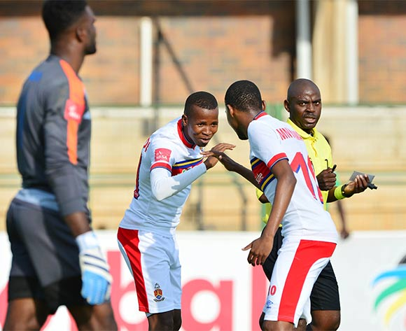 Thabo Mosadi of University of Pretoria (l) celebrates goal with teammate Andile Mbenyane (r) during the 2015/16 Absa Premiership football match between University of Pretoria and Chippa United at Tuks Stadium, Pretoria on 27 February 2016 ©Gavin Barker/BackpagePix