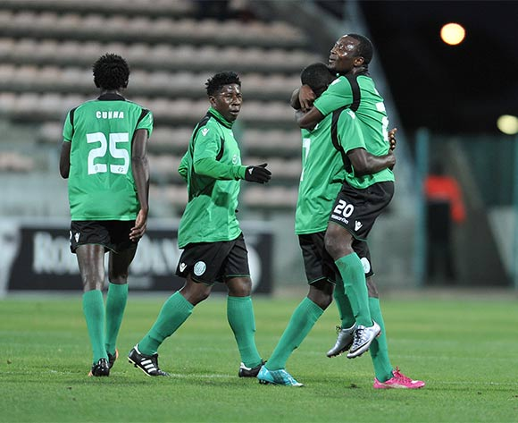 Sagrada Esperanca players celebrate after opening the scoring during the 2016 CAF Confederation Cup football match between Ajax Cape Town and Sagrada Esperanca at Athlone Stadium, Cape Town on 27 February 2016 ©Luigi Bennett/BackpagePix