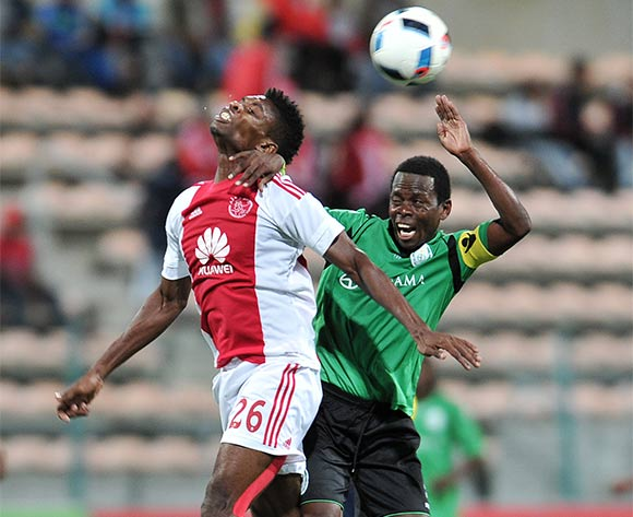 Lawrence Larty of Ajax Cape Town and Paulo Camufingo of Sagrada Esperanca during the 2016 CAF Confederation Cup football match between Ajax Cape Town and Sagrada Esperanca at Athlone Stadium, Cape Town on 27 February 2016 ©Luigi Bennett/BackpagePix