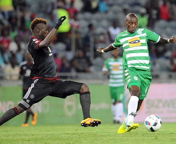 Edwin Gyimah of Orlando Pirates challenges Musa Nyatama of Bloemfontein Celtic during the Absa Premiership match between Orlando Pirates and Bloemfontein  Celtic  on 27 February 2016 at Orlando Stadium Pic Sydney Mahlangu/ BackpagePix