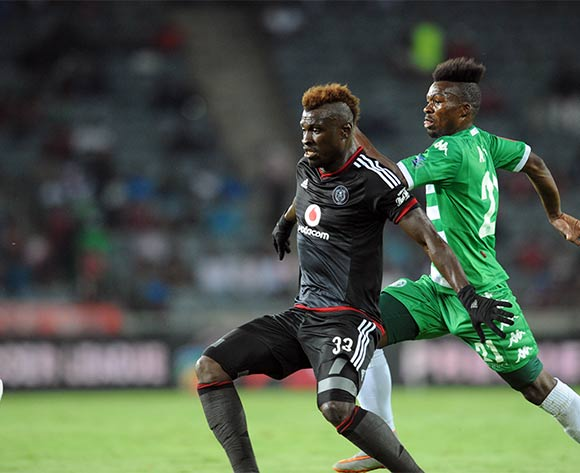 Edwin Gyimah of Orlando Pirates challenges Fiston Abdoul of Bloemfontein Celtic during the Absa Premiership match between Orlando Pirates and Bloemfontein  Celtic  on 27 February 2016 at Orlando Stadium Pic Sydney Mahlangu/ BackpagePix