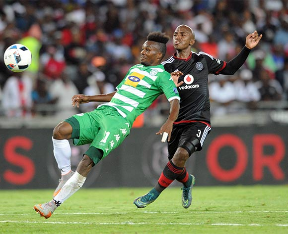 Patrick Phungwayo of Orlando Pirates challenges Fiston Abdoul of Bloemfontein Celtic during the Absa Premiership match between Orlando Pirates and Bloemfontein  Celtic  on 27 February 2016 at Orlando Stadium Pic Sydney Mahlangu/ BackpagePix