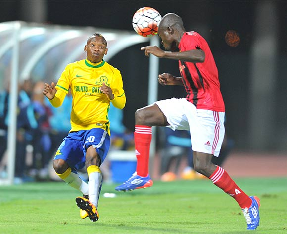 Moses Jackson (r) of Chicken Inn challenged by Khama Billiat (l) of Mamelodi Sundowns during the 2016 CAF Champions League football match between Mamelodi Sundowns and Chicken Inn at the Lucas Moripe Stadium in Pretoria, South Africa on February 27, 2016 ©Samuel Shivambu/BackpagePix
