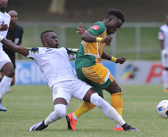 Hellings Mhango of Golden Arrows tackled by Siyabonga Zulu of Platinum Stars during the Absa Premiership 2015/16 match between Golden Arrows and Platinum Stars in Chatsworth Stadium Durban, Kwa-Zulu Natal on 28 February 2016©Muzi Ntombela/Backpagepix