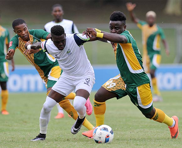 Siyabonga Zulu of Platinum Stars challenged by Hellings Mhango of Golden Arrows during the Absa Premiership 2015/16 match between Golden Arrows and Platinum Stars in Chatsworth Stadium Durban, Kwa-Zulu Natal on 28 February 2016©Muzi Ntombela/Backpagepix