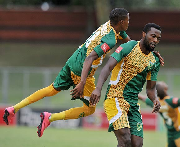 Mwape Musonda of Golden Arrows celebrates his goal during the Absa Premiership 2015/16 match between Golden Arrows and Platinum Stars in Chatsworth Stadium Durban, Kwa-Zulu Natal on 28 February 2016©Muzi Ntombela/Backpagepix