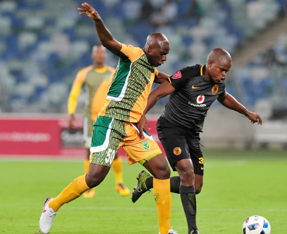 Willard Katsande of Kaizer Chiefs challenged by Musa Bilankulu of Golden Arrows during the Absa Premiership 2015/16 match between Golden Arrows and Kaizer Chiefs in Moses Mabhida Stadium Durban, Kwa-Zulu Natal on 02 February 2016 ©Muzi Ntombela/BackpagePix