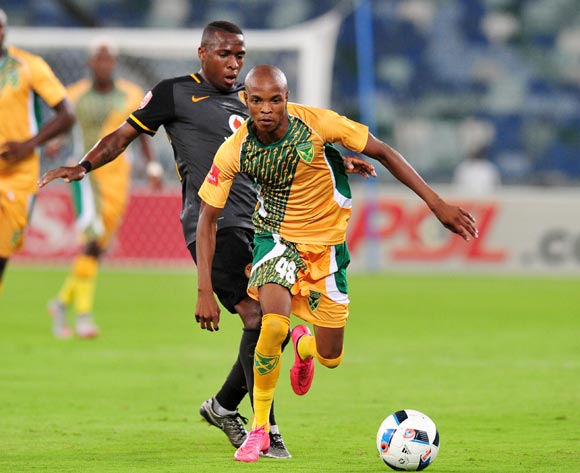 Mahlatse Makudubela of Golden Arrows challenged by George Maluleka of Kaizer Chiefs during the Absa Premiership 2015/16 match between Golden Arrows and Kaizer Chiefs in Moses Mabhida Stadium Durban, Kwa-Zulu Natal on 02 February 2016 ©Muzi Ntombela/BackpagePix
