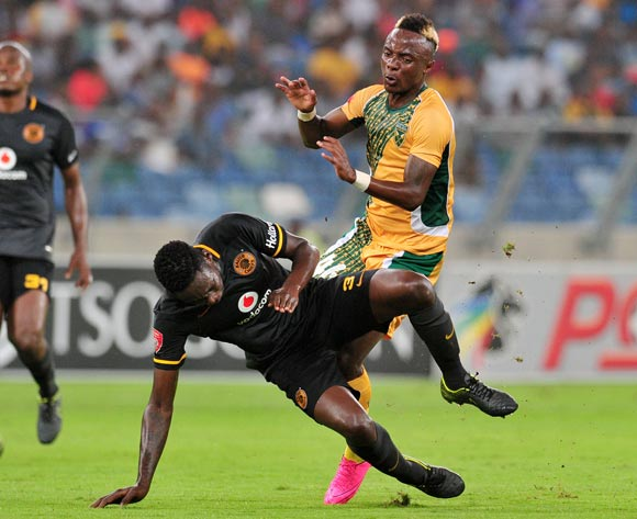 Mahachi Kudakwashe of Golden Arrows tackled by Erick Mathoho of Kaizer Chiefs during the Absa Premiership 2015/16 match between Golden Arrows and Kaizer Chiefs in Moses Mabhida Stadium Durban, Kwa-Zulu Natal on 02 February 2016 ©Muzi Ntombela/BackpagePix