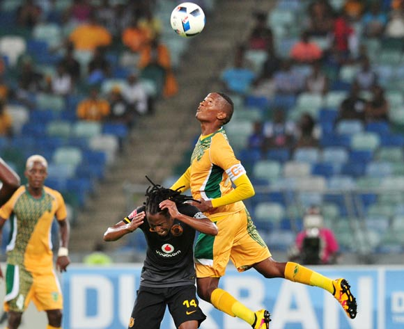 Siphiwe Tshabalala of Kaizer Chiefs battles with Matome Mathiane of Golden Arrows during the Absa Premiership 2015/16 match between Golden Arrows and Kaizer Chiefs in Moses Mabhida Stadium Durban, Kwa-Zulu Natal on 02 February 2016 ©Muzi Ntombela/BackpagePix