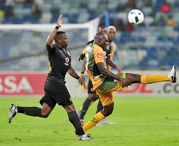 Musa Bilankulu of Golden Arrows clears the ball from George Maluleka of Kaizer Chiefs during the Absa Premiership 2015/16 match between Golden Arrows and Kaizer Chiefs in Moses Mabhida Stadium Durban, Kwa-Zulu Natal on 02 February 2016 ©Muzi Ntombela/BackpagePix