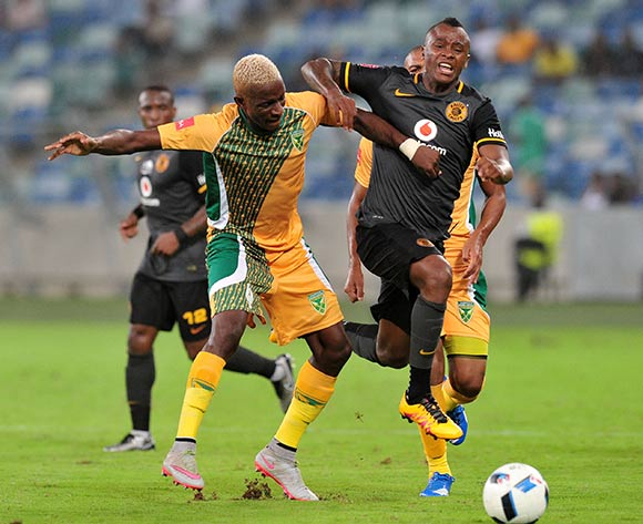 Tsepo Masilela of Kaizer Chiefs challenged by Chris Katjiukua of Golden Arrows during the Absa Premiership 2015/16 match between Golden Arrows and Kaizer Chiefs in Moses Mabhida Stadium Durban, Kwa-Zulu Natal on 02 February 2016 ©Muzi Ntombela/BackpagePix