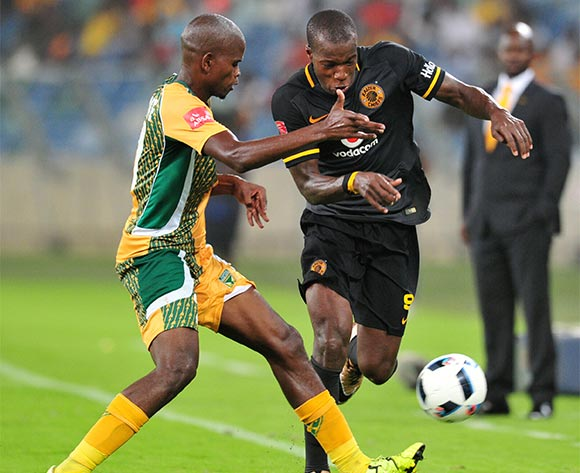 Camaldine Abraw of Kaizer Chiefs challenged by Nkanyiso Mngwengwe of Golden Arrows  during the Absa Premiership 2015/16 match between Golden Arrows and Kaizer Chiefs in Moses Mabhida Stadium Durban, Kwa-Zulu Natal on 02 February 2016 ©Muzi Ntombela/BackpagePix