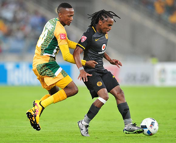 Siphiwe Tshabalala of Kaizer Chiefs challenged by Matome Mathiane of Golden Arrows during the Absa Premiership 2015/16 match between Golden Arrows and Kaizer Chiefs in Moses Mabhida Stadium Durban, Kwa-Zulu Natal on 02 February 2016 ©Muzi Ntombela/BackpagePix