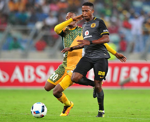 William Twala of Kaizer Chiefs scores his goal while challenged by Matome Mathiane of Golden Arrows during the Absa Premiership 2015/16 match between Golden Arrows and Kaizer Chiefs in Moses Mabhida Stadium Durban, Kwa-Zulu Natal on 02 February 2016 ©Muzi Ntombela/BackpagePix