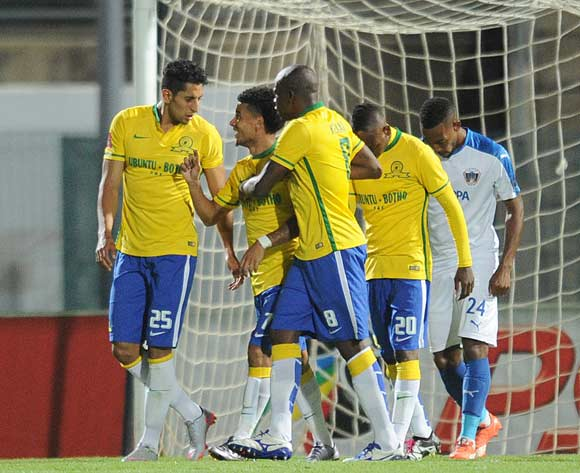 Leonardo Castro of Mamelodi Sundowns (l) celebrate a goal  with teammates during the Absa Premiership match between Mamelodi Sundowns and Chippa United on 02 February 2016 at Lucas Moripe Stadium  Pic Sydney Mahlangu/ BackpagePix