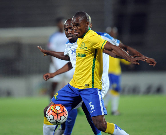 Asavela Mbekile of Mamelodi Sundowns is challenged by Sandile Zuke of Chippa United during the Absa Premiership match between Mamelodi Sundowns and Chippa United on 02 February 2016 at Lucas Moripe Stadium  Pic Sydney Mahlangu/ BackpagePix