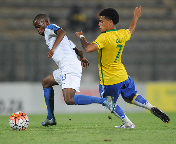 Nkosinathi Mthiyane of Chippa United is challenged by Keagan Dolly of Mamelodi Sundowns  during the Absa Premiership match between Mamelodi Sundowns and Chippa United on 02 February 2016 at Lucas Moripe Stadium  Pic Sydney Mahlangu/ BackpagePix